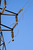 High voltage. Cables, a power pole stock photography