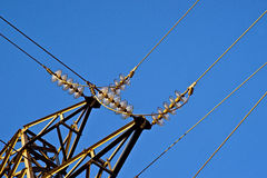 High voltage. Cables, a power pole royalty free stock images