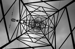 High voltage. Pylon from below Stock Photo