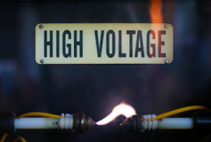 High Voltage. Danger: high voltage electricity. Keep out Royalty Free Stock Image