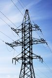 High voltage. Tower and lines Royalty Free Stock Photo