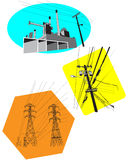 High Voltage. 3 Illustrations of an industrial cityscape Stock Image