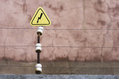 High voltage barrier. High voltage line Royalty Free Stock Images
