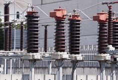 High Voltage Bobbins. Of power plant station Royalty Free Stock Photo