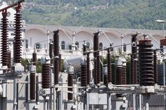High Voltage Bobbins. Of power plant station Stock Photo