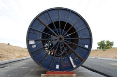 High voltage cable reels road construction Royalty Free Stock Photo