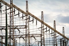 High voltage cables. Cables in a high voltage substation Stock Photo
