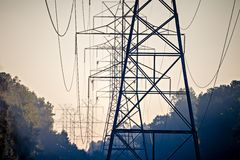 High voltage carrier power lines through the forest Stock Photography