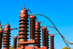 High voltage circuit breaker. In a power substation Royalty Free Stock Photography