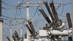 High voltage circuit breaker in a power substation. Electrical components stock video footage