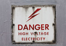 High voltage: danger!. High voltage danger sign attached to an electrical cabinet Royalty Free Stock Image