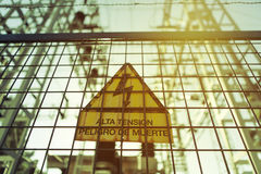 High voltage. Danger of death. Sign with text in spanish. Stock Image