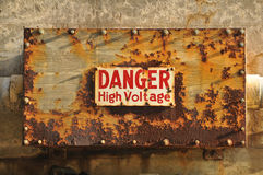 High Voltage Danger sign on a rusty  box Royalty Free Stock Photography