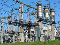 High voltage  electric converter wire equipment Stock Photo