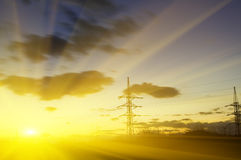 High voltage electric line Stock Photography
