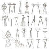 High voltage electric line pylon. Icon set suitable for creating Stock Photos