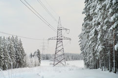 High-voltage electric lines royalty free stock photo