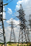 High-voltage electric lines. Set of towers for high-voltage electric lines Royalty Free Stock Photo