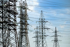 High-voltage electric lines. Set of towers for high-voltage electric lines Stock Images