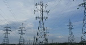 High voltage power lines panorama