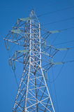 High-voltage electric pillar. High voltage electric pillar and blue sky Stock Images