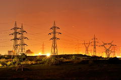 High voltage electric pillars Royalty Free Stock Photos
