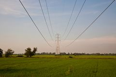 High voltage electric pole Royalty Free Stock Image