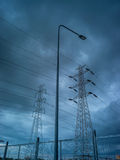 High voltage electric pole in rain storm. Series of element of high voltage electric pole in rain storm when the rain storm come Royalty Free Stock Images