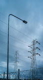 High voltage electric pole in rain storm. Series of element of high voltage electric pole in rain storm when the rain storm come Stock Images