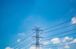High voltage electric pole on sky background stock photos