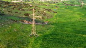 High-voltage electric pole and transmission lines