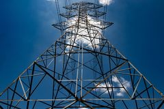 High voltage electric pole royalty free stock photos
