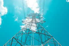 High voltage electric pole royalty free stock photography