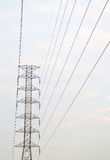 High Voltage electric pole. And electric wire with blue sky Stock Photography