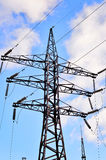 High-voltage electric pole with wires Stock Photography