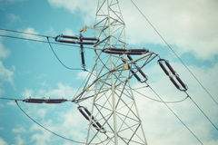 High voltage electric pole with wires, line of electricity transmissions Royalty Free Stock Image