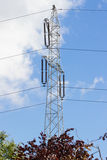 High voltage electric pole with wires, technology Stock Image
