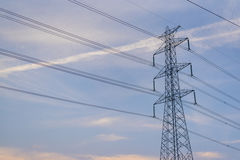 High Voltage electric poles with clear sky. Royalty Free Stock Photography