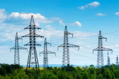 A high-voltage electric power lines. Royalty Free Stock Image