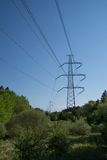 High voltage electric power lines Royalty Free Stock Photo