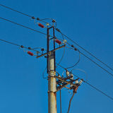 High-voltage electric power lines . Royalty Free Stock Photos