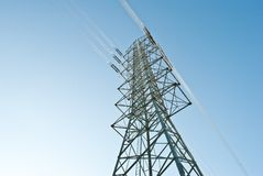 High voltage electric power lines. On pylons Royalty Free Stock Photos