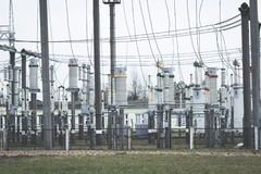 High voltage electric power production and electrical substation Royalty Free Stock Photo