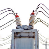 High voltage electric power. Substation in winter day Royalty Free Stock Photography