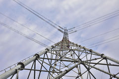High voltage electric power tower close-up ! Royalty Free Stock Photography