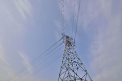 High voltage electric power tower close-up ! Stock Image