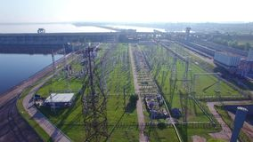 High voltage electric power tower, electric substation, hydroelectric power station, power distribution. Aerial