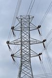 High voltage electric power pylon and wires stock images