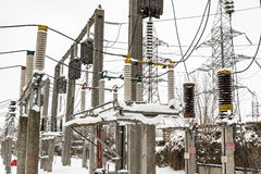 High-voltage electric substation Stock Images