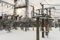 High-voltage electric substation Stock Photos